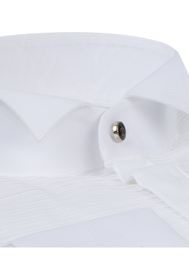 Damat Slim Fit Smokin Gömlek Beyaz